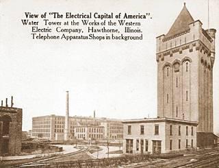 Hawthorne Works tower vintage view in Cicero US66
