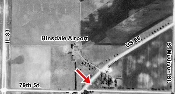 Aerial photo of Hinsdale airport in 1939 in Willowbrook Route 66