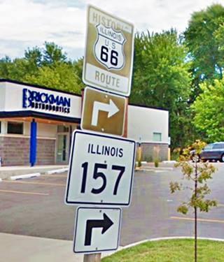Historic US 66 road sign in Edwardsville US66