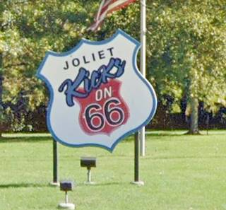 Joliet Kicks on 66 Shield-sign in Joliet US66