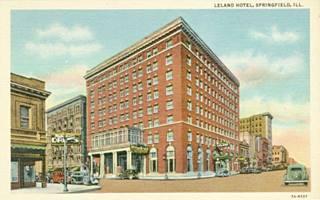 Leland Hotel vintage postcard in Springfield US66