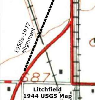 USGS map 1944 overpass north of Litchfield