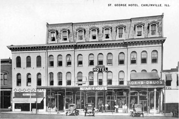 Loomis House (St. George Hotel) 1920 postcard in Carlinville Route 66