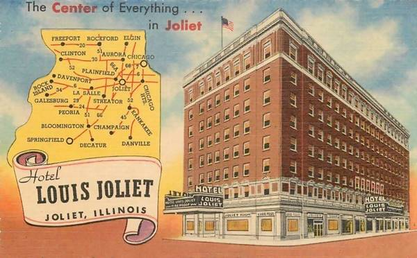 The Louis Joliet Hotel vintage postcard in Joliet Route 66