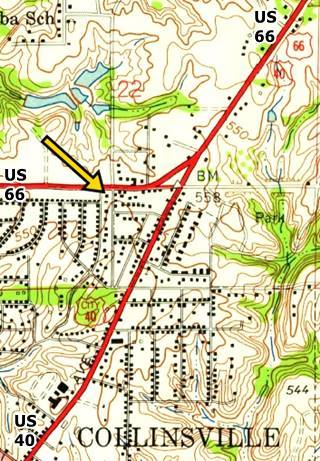USGS 1953 map showing old gas station in Collinsville US66