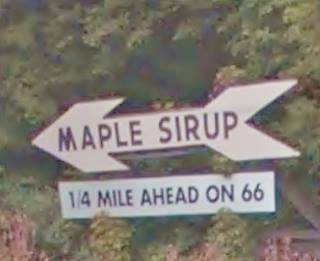"""""""Maple Sirup"""" sign in Funks Grove US66"""