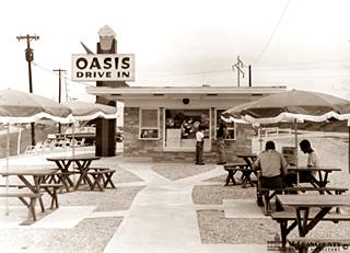Oasis Drive In, in a vintage photograph in Lexington US66