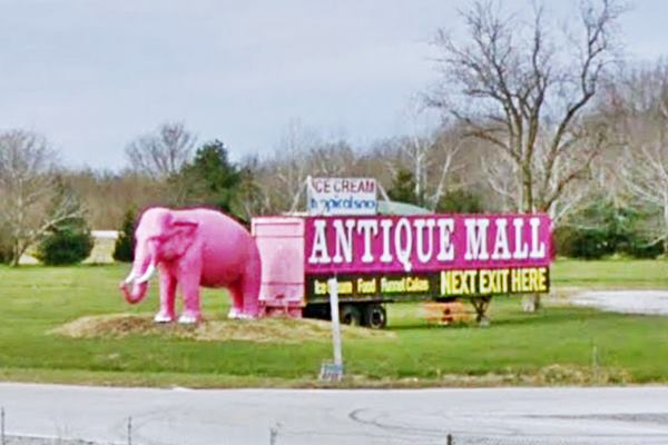 The Pink Elephant at the Antique Mall in Livingston Route 66
