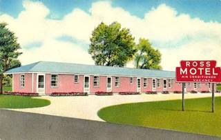 Ross Motel postcard in Springfield US66