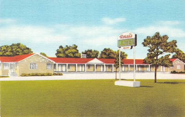 Rossi Motel in a vintage postcard in Braidwood Route 66