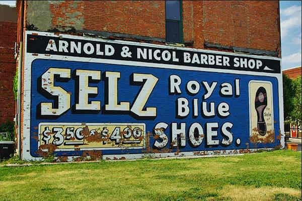 Selz Royal Blue Shoes Mural in Chenoa Route 66