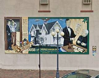 Abe Lincoln and Strevell House Mural in Pontiac US66
