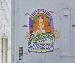 Palace of Sweets mural in Pontiac US66
