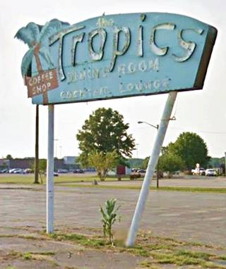 Tropics Neon Sign when it still stood in Lincoln US66