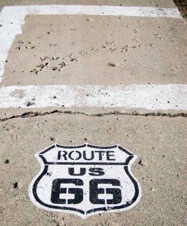 The turkey tracks on US 66 concrete in Nilwood Route 66