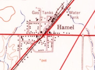 1954 USGS map of Route 66 in Hamel Illinois