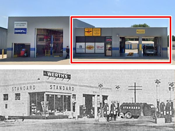 Werths Texaco station in 1930 and today