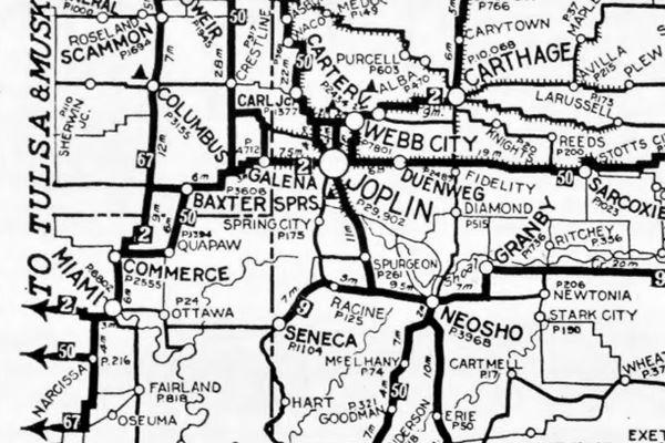 1924 roadmap of western MO, KS, east Ok