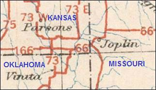 Old 1926 map of Route 66 in Kansas