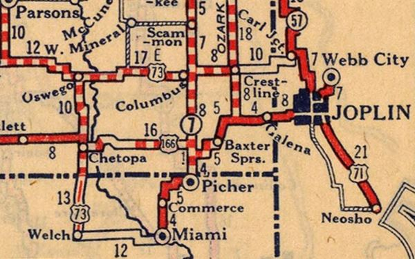 1927 roadmap of SW MO, KS, and NE OK