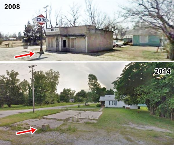 then and now view of a now demolished DX gas sation