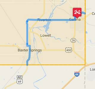 static map of Route 66 in Galena KS