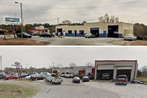 two views now and then of old gas station