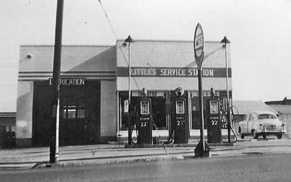 black and white photo circa 1950 of the gas station