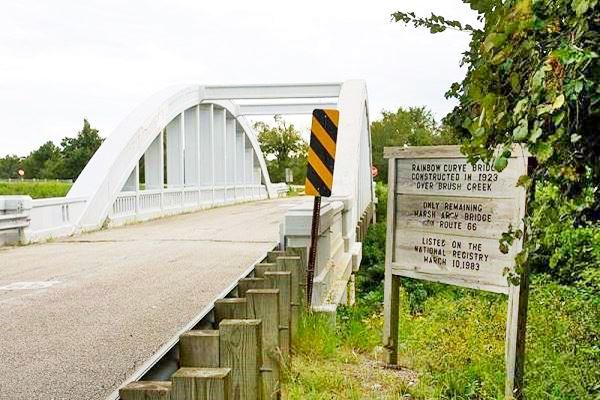 Bush Creek Arch Bridge on US 66 in Kansas