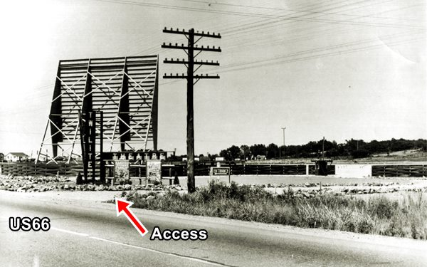 1950s black and white picture Route 66 and drive in screen