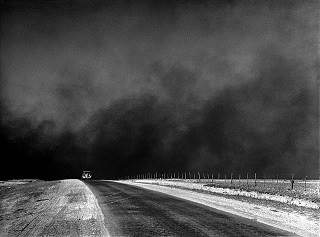 Heavy black clouds of dust rising over the Texas Panhandle