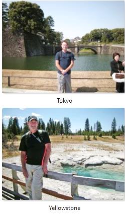 Austin in Tokyo Japan and in Yellowstone USA