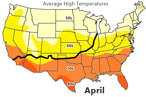 Average High Temperature map, April
