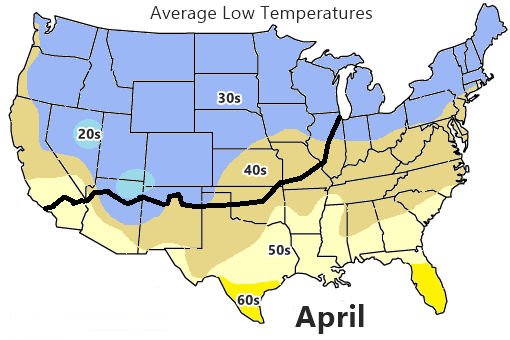 Average low Temperature map, April