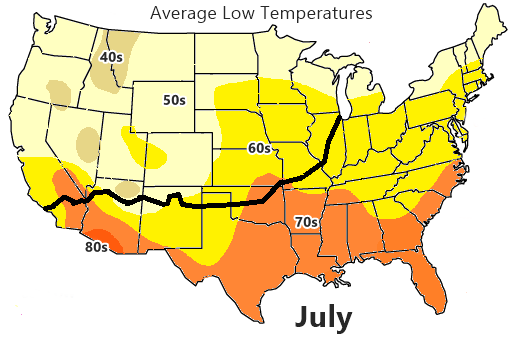 Average low Temperature map, July