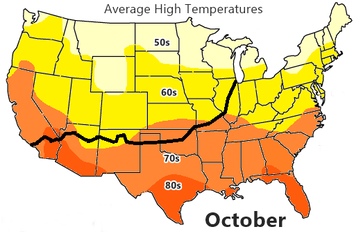 Average High Temperature map, October