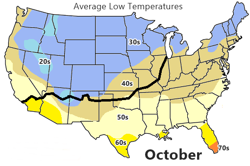map with Average Low autumn temperatures in the US and Route 66