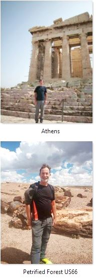 Austin in Athens Greece and the Petrified Forest USA