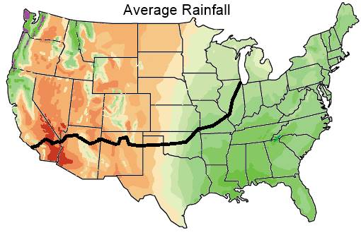 Average US rainfall map
