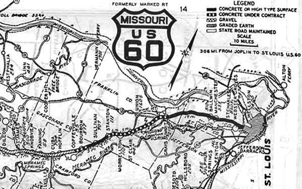 1926 Map of Route 66 from St. James to St. Louis MO