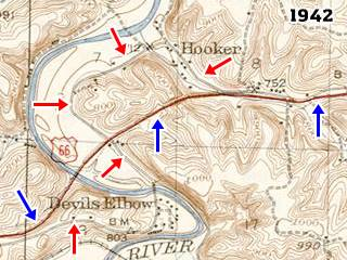 USGS map from 1942 showing Devil' Elbow MO