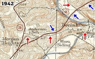 USGS map from 1942 showing Morgan Heights MO