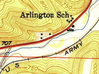 A 1951 map by USGS of Route 66 in Arlington and Jerome MO