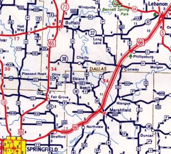 Detail of a 1957 Missouri DOT Map