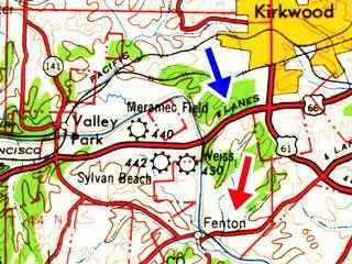1962 map of Fenton and US 66