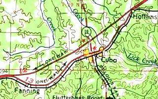 1966 USGS Map of Fanning to Hofflins