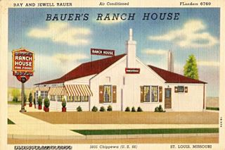 Bauer's Ranch House postrcard