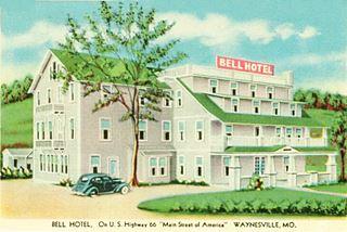 vintage 1930 postcard Bell Hotel Waynesville MO