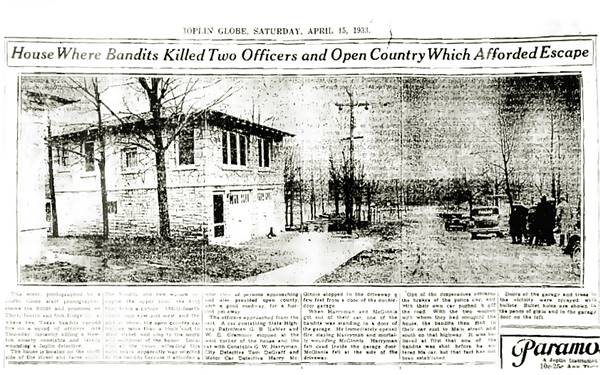 1933 newspaper article with a photo of the hideout garage