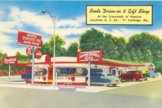 vintage postcard of Boots Drive In